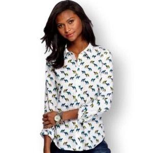 Crown & Ivy Camel Print Button Down Shirt M